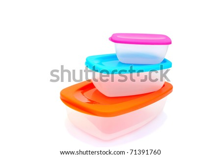 Plastic food storage containers isolated on white background.