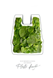 Plastic free.Ecological poster. Say NO to plastic and polyethylene bags. Ban plastic pollution. Biodegradable bag, made with green sprout and leaves. Zero waste and Sustainable lifestyle. Think Green.