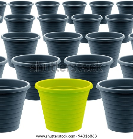 plastic garden pot isolated on white background,