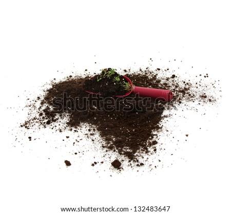 plastic garden spade tool on soil