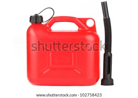 Plastic gas canister. Studio shot, isolated on white.