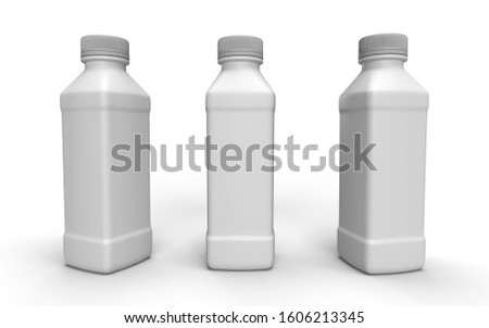 Plastic gray 3D bottle with three different perspectives with shadow