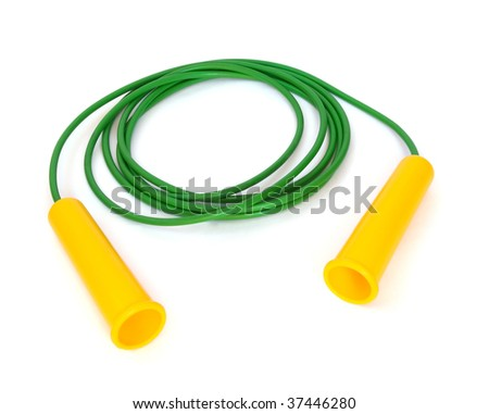 Plastic green jump rope isolated on white