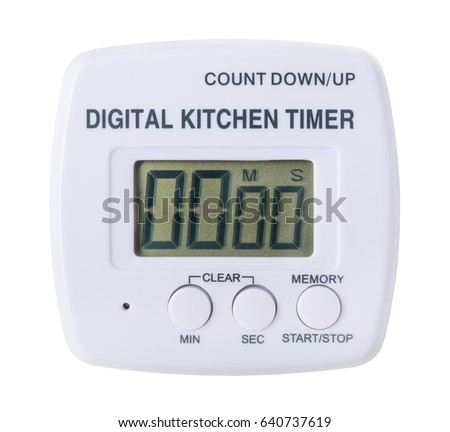 plastic kitchen digital timer isolated on white background