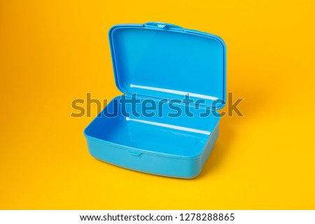 Plastic lunch box on white background, food container for school