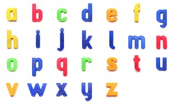 plastic magnetic lowercase letters of the British alphabet