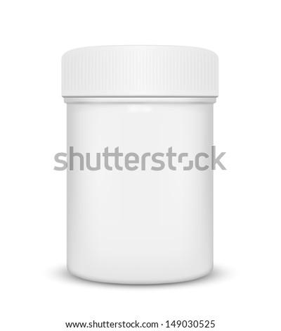 Plastic medicine bottle isolated on a white background, illustration. - stock photo