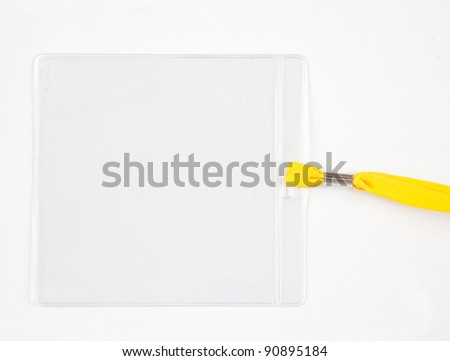 plastic name card holder with yellow rope