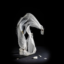 Plastic net as disposable packaging for garlic as a sculpture against a black background, waste of the abundance and throwaway society  produces microplastic in the ocean, copy space, selected focus
