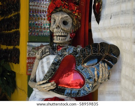 Plastic of skeleton woman - Traditional mexican souvenirs in Oaxaca City, Mexico