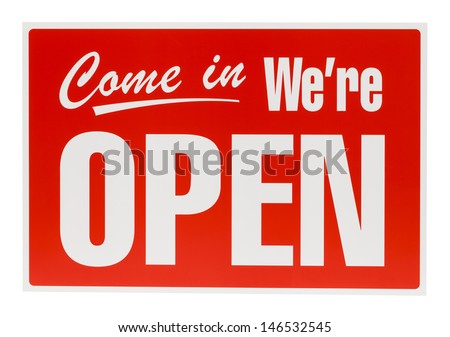 PLastic Open Sign Isolated on White Background.