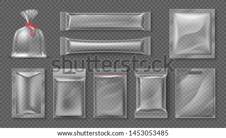 Plastic package. Realistic clear bag mockup, 3d transparent food product pack set, blank glossy foil.  candy snack container set