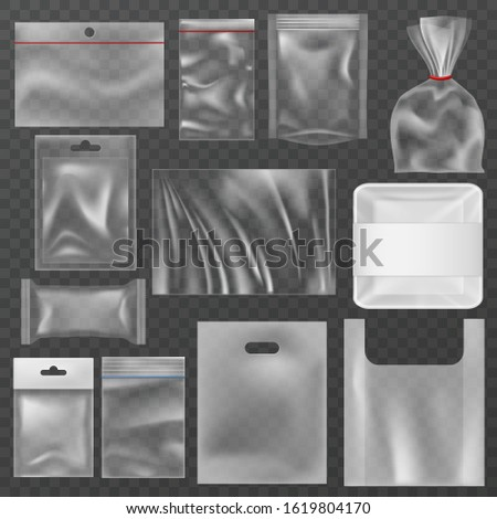 Plastic packaging. plastic packs, food containers and vacuum bags. Polythene wrap pouch, snack package 3d retail transparency polyethylene packing mockups