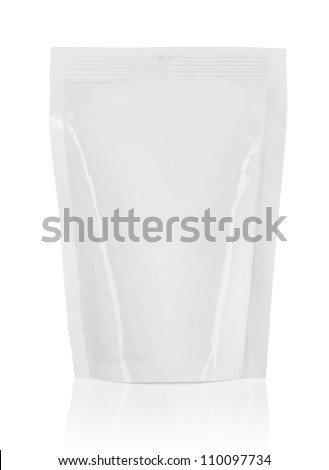 plastic packaging ready for your design. isolated over white background - stock photo