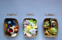 Plastic, paper and organic trash on a blue background. The words from wooden letters. Sorting garbage. Zero waste concept. Separate rubbish. Top view, flat lay.