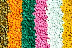 Plastic pellets . Plastic granules after processing .Polymer.