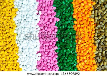 Plastic pellets . Plastic granules after processing .Polymer.  Foto stock ©