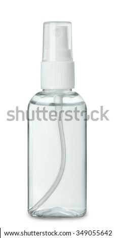 Plastic perfume spray bottle isolated on white #349055642