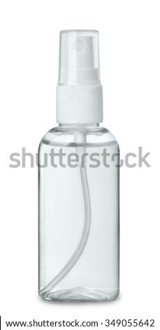 Plastic perfume spray bottle isolated on white