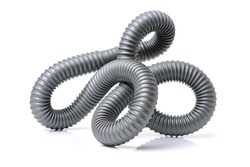 plastic pipe and materials for constructions on white background
