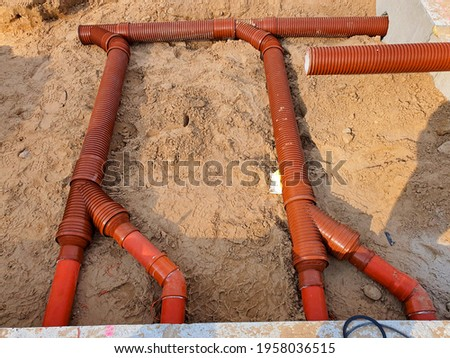 Plastic pipes for sewerage ,on the building site Stock photo ©