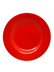 Plastic plate. The plate is made of plastic and is red in color. This plastic plate was photographed from above against a white background, giving it a red and white combination.