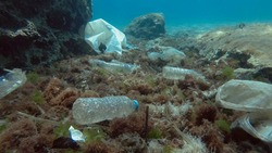 Plastic pollution of the Mediterranean Sea. Massive plastic pollution of the ocean bottom. Seabed covered with a lot of plastic garbage. Bottles, bags and other plastic debris on seabed