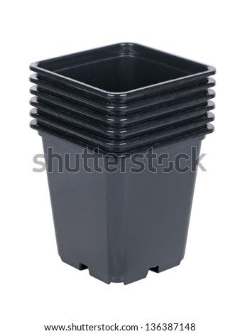 Plastic pots for growing seedlings, isolated on white background #136387148