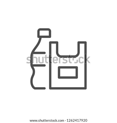 Plastic products line icon isolated on white