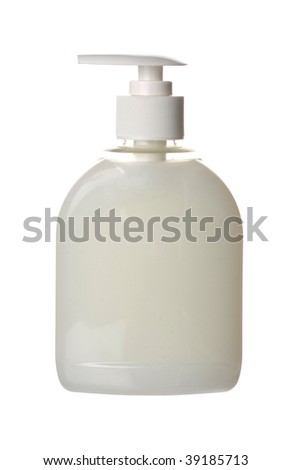 Plastic pump soap bottle without label on white