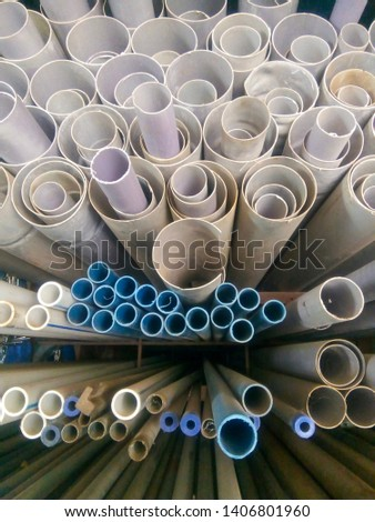 Plastic PVC pipes factory store room in groups