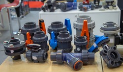 Plastic PVC valves, ball valve, butterfly valve, strainer. Industrial construction piping system component