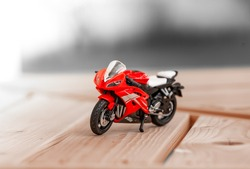 Plastic Red Toy Sports Motor Bike