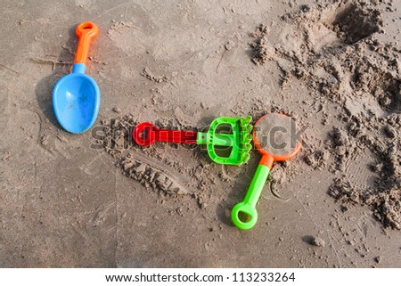Plastic sandbox on the beach, kid playground