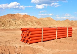 Plastic sewer pipes for laying an external sewage system at a construction site. Sanitary drainage system for a multi-story building. Civil infrastructure pipe, water lines and storm sewers
