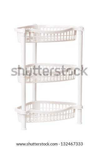 Plastic shelf for cleaning supplies, isolated on white background