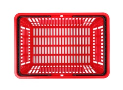 Plastic shopping basket on white background, top view
