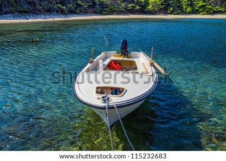 Plastic small fishing boat island mljet croatia stock for Small plastic fishing boats