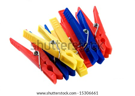 Plastic spring type clips or clothes pins