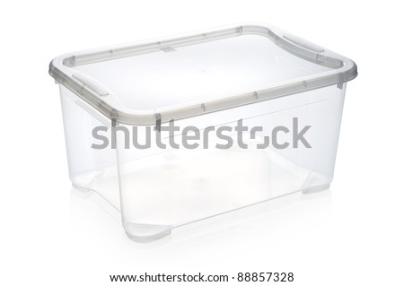 Plastic storage box Plastic container isolated on white. cm 39*27*19 h