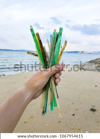 Plastic straws found on a beach in Singapore