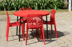 Plastic Table and Chairs outdoor in a restaurant