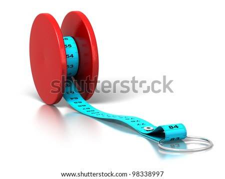 plastic tape measure rolled on a yo-yo over a white background - stock photo