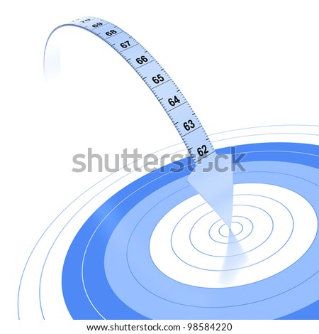 Plastic tape measure with an arrow at the extremity. Blue color over white background with reflection and target