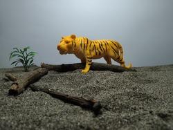 plastic toy animals - miniature plastic toy tiger