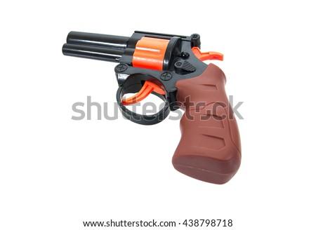 Plastic toy gun for child isolated on white background.Toy gun.Toy hand gun