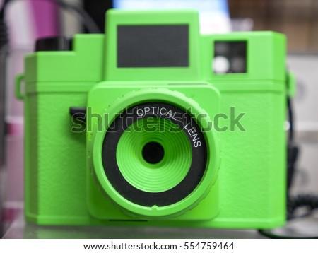 Plastic toy lens camera green body