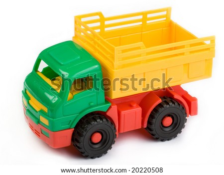 Plastic Toy Truck isolated on a white background