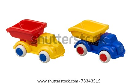 Plastic toy  trucks for kids to have fun with there learning, the image isolated