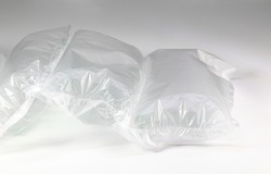 plastic translucent air packaging, Plastic translucent packaging with air cushion. Inflatable air bag isolated on white background.